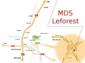 Plan de situation de la nouvelle MDS (Maison départementale solidarité) de Leforest