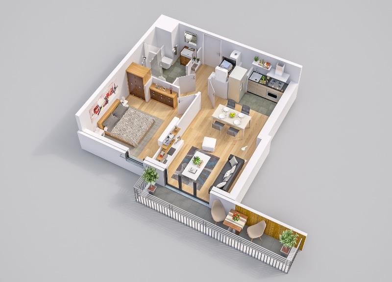 Odette à Rueil-Malmaison - Exemple de plan d'un appartement neuf de type 2 type.