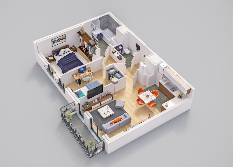 Odette à Rueil-Malmaison - Exemple de plan d'un appartement neuf de type 3 type.