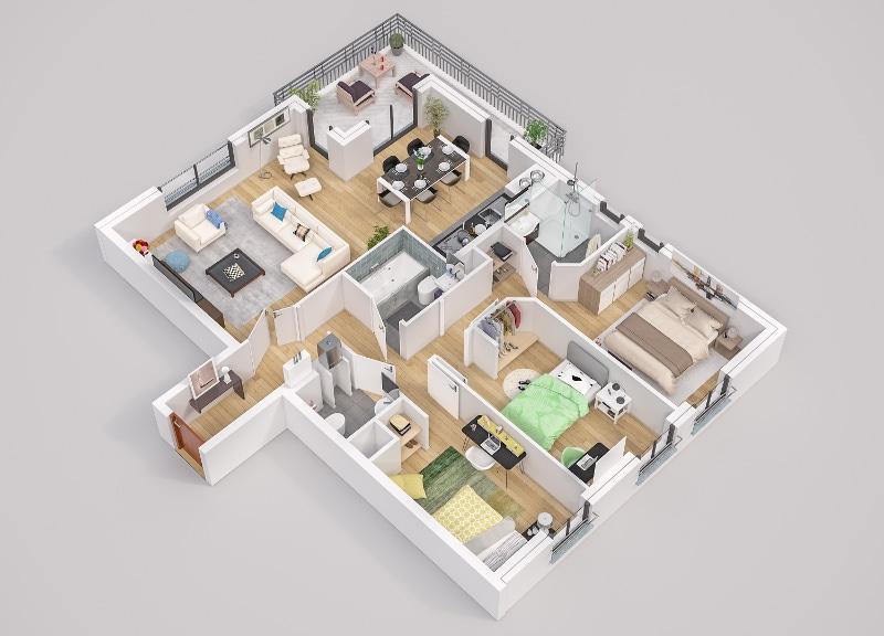 Odette à Rueil-Malmaison - Exemple de plan d'un appartement neuf de type 4 type.