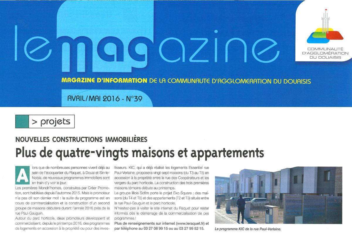 Article sur les projets immobiliers de l'écoquartier du RAquet, dont Essentiel de KIC