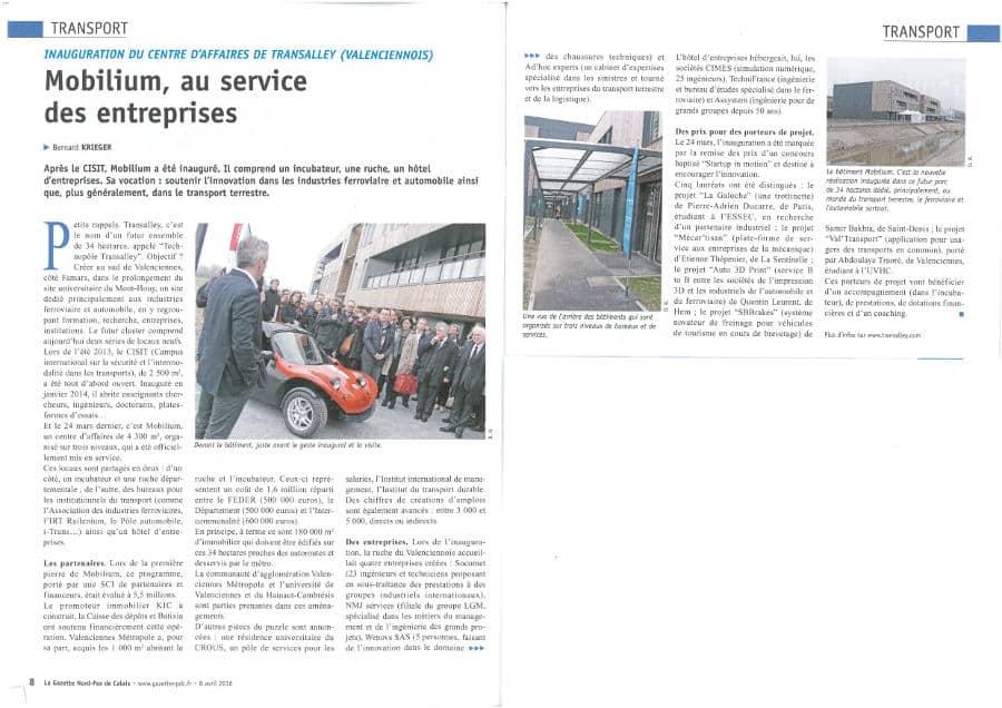 Inauguration Mobilium - Article de la Gazette Nord-PdC du 8 avril 2016