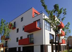 Les balcons rouges du programme de logements neufs à Annoeullin