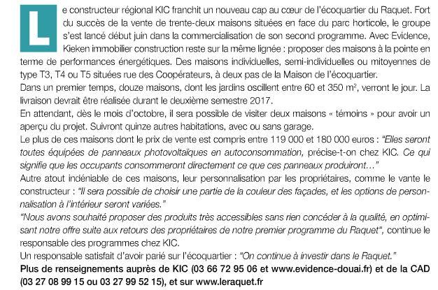 Article du journal de la CAD sur Evidence, Evidence, nouveau programme immobilier dans le Douaisis de KIC