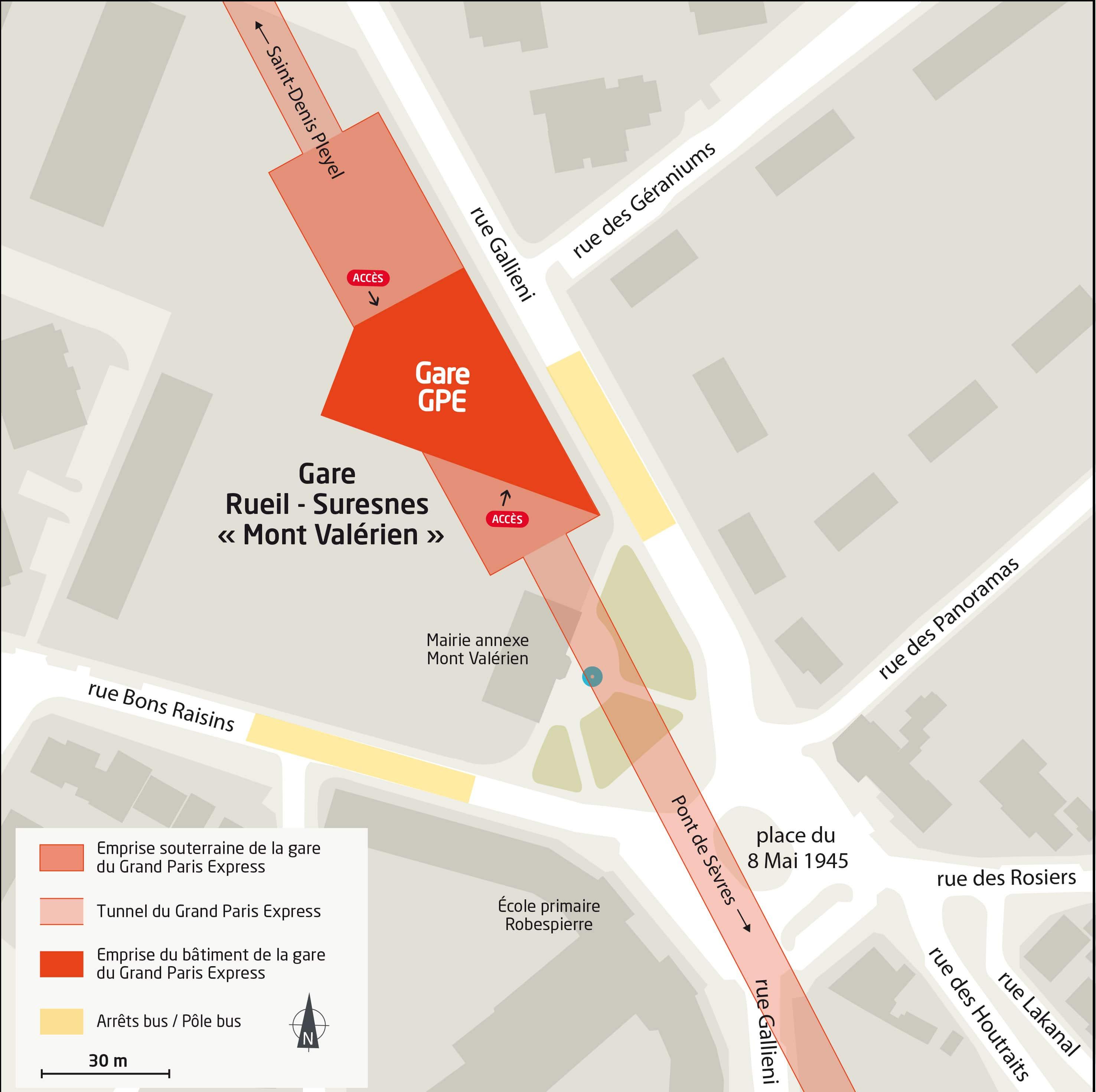 Implantation de la future gare de la Ligne 15 Rueil-Mont Valérien à moins d'1km du programme de logements neufs Odette