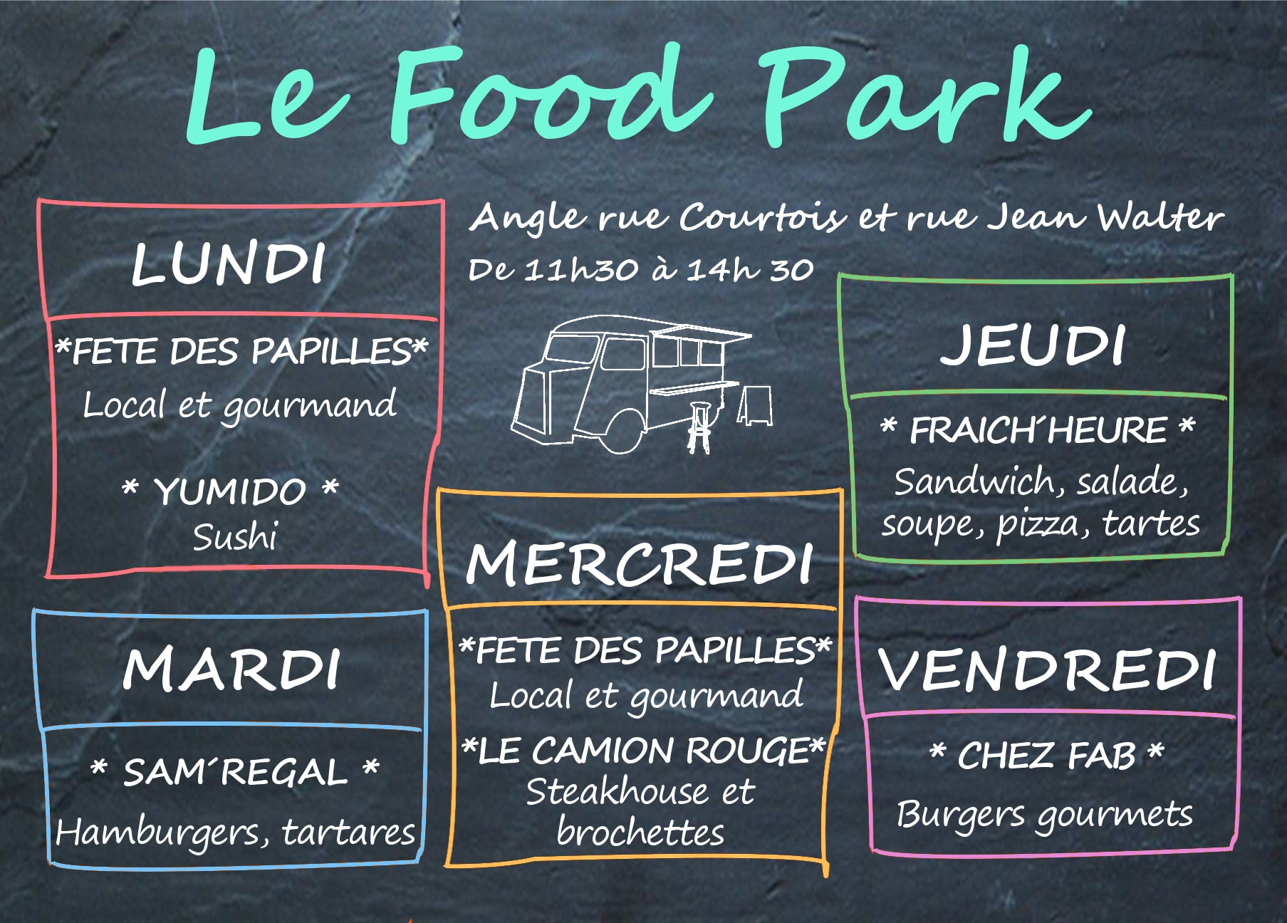 Planning des Food trucks à Lille sur le Food Park