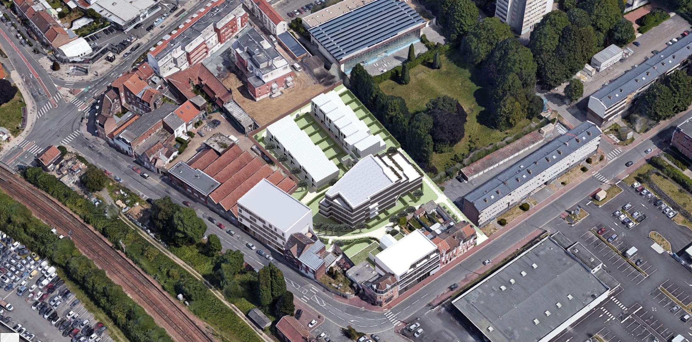 Axonométrie du futur programme KIC à Lille-Lomme