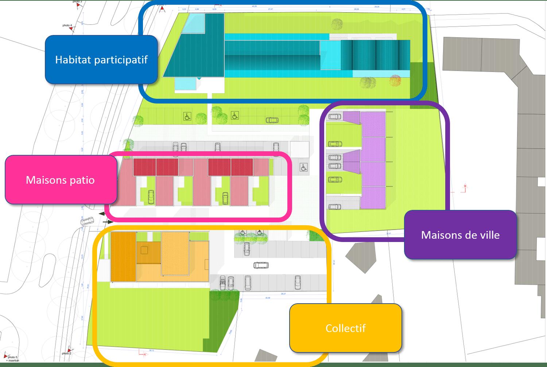 Plan masse du programme immobilier neuf Plurielle, avec son projet d'habitat participatif