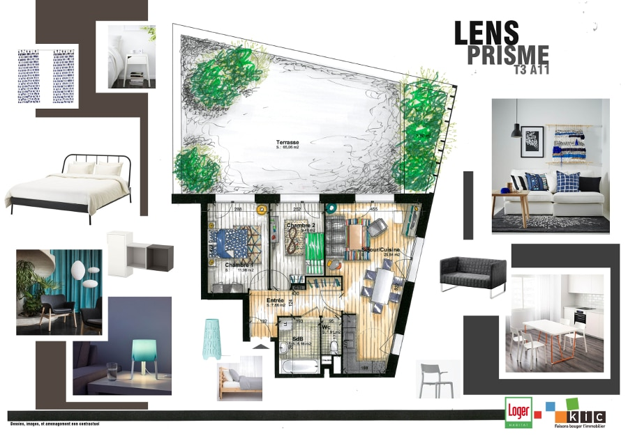 Un architecte d'intérieur concoit les parties communes de Prisme, programme immobilier neuf à Lens